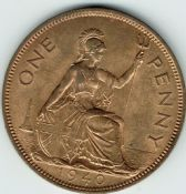 George VI, One Penny 1940 (Scarcer Year), AUNC, M9010